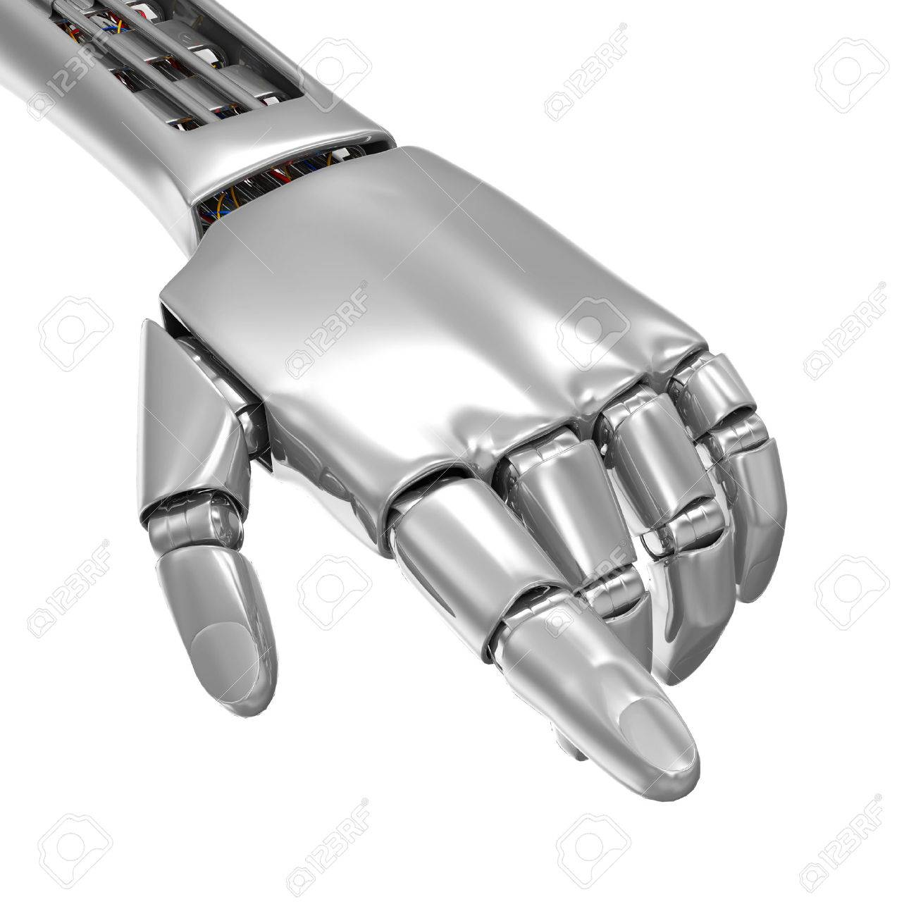 Advanced Technology Concept  Metal Robotic Hand Touching Something