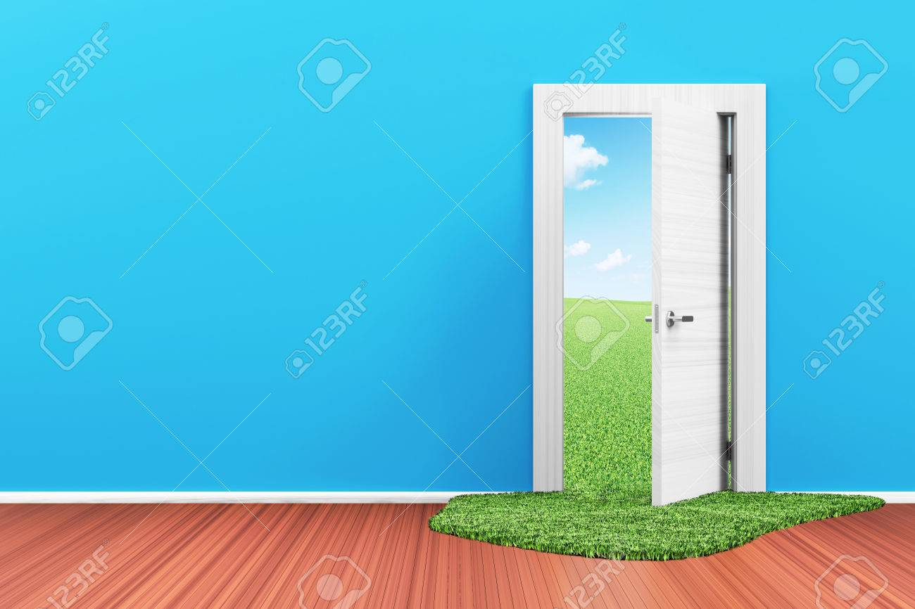 Empty Room 3D Interior With Opened Door And Beautiful Landscape Behind  Stock Photo   34250177