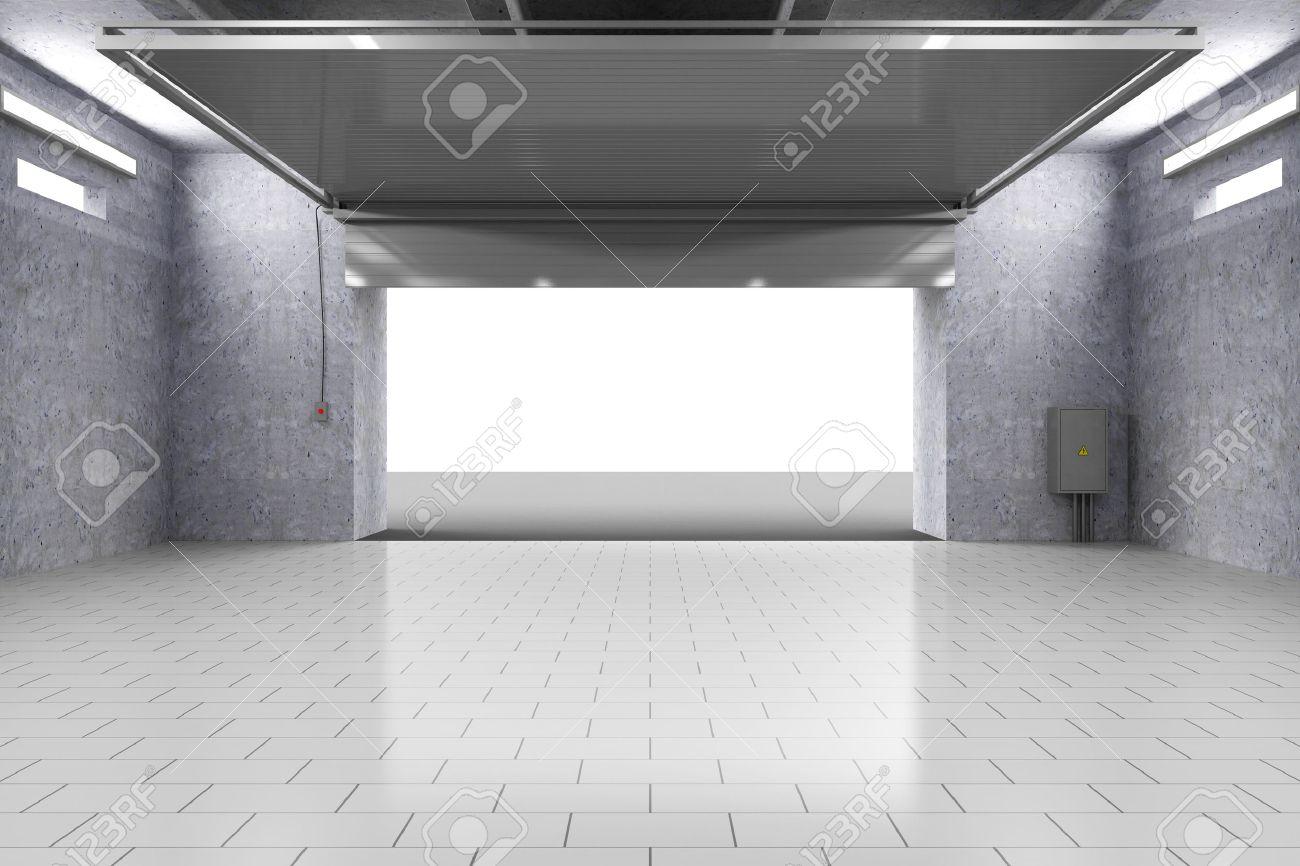 Garage Bilder empty garage 3d interior with opened roller door royalty fria