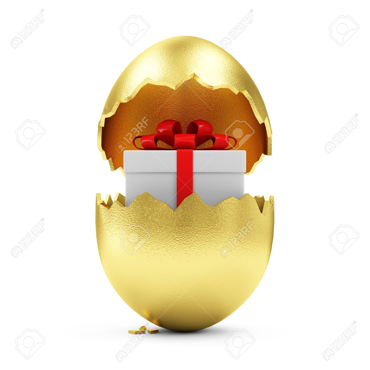 Happy easter concept big broken golden egg with gift box inside happy easter concept big broken golden egg with gift box inside isolated on white background negle Image collections