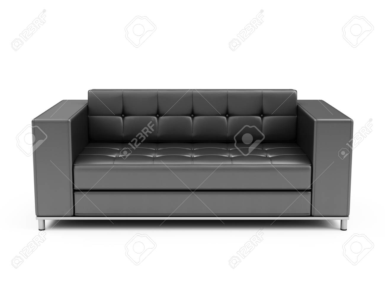Modern Black Leather Sofa isolated on white background. 3D Rendering