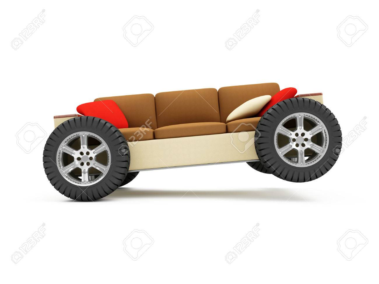 Moving To A New Residence Or Furniture Transportation Concept. Modern Sofa  On Wheels With Pillows