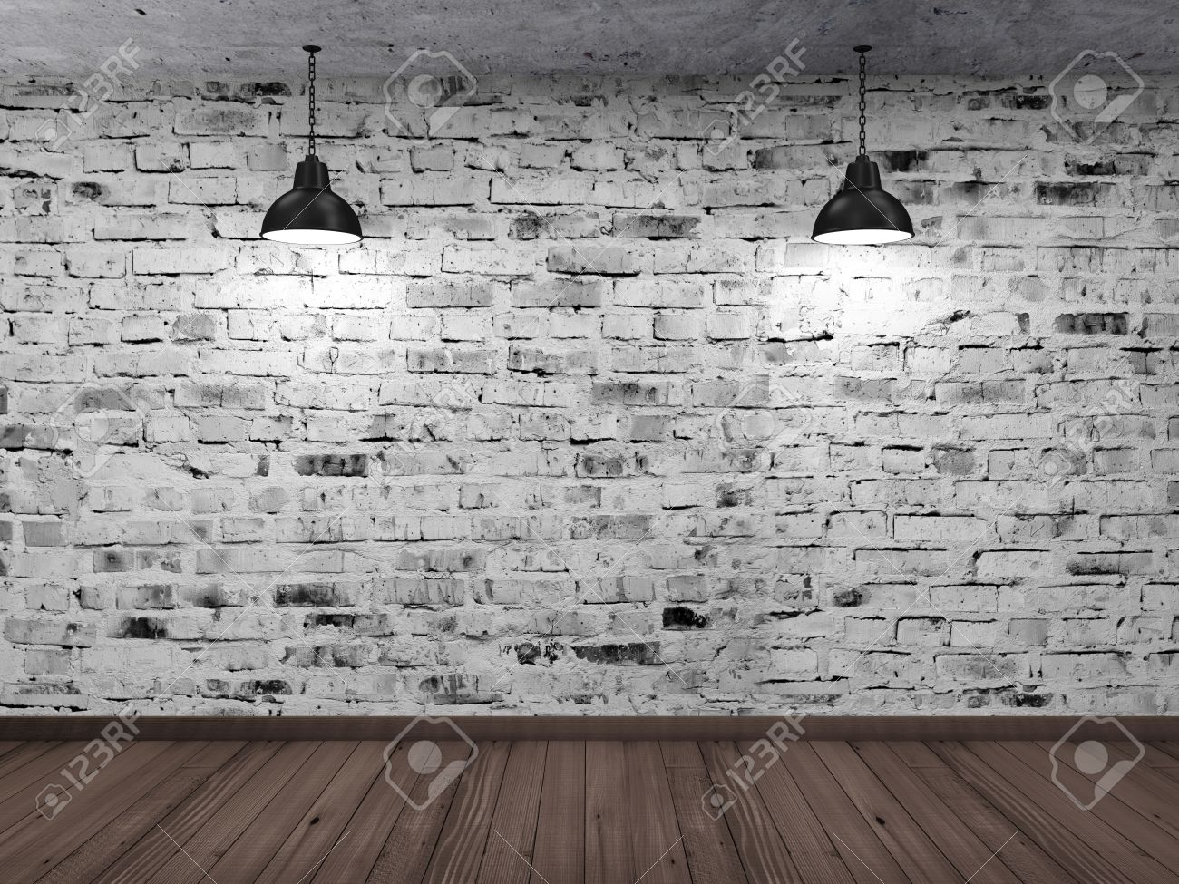Black brick wall interior - Empty 3d Room Interior With White Grunge Brick Wall Wooden Floor And Hanging Black Lamps Stock