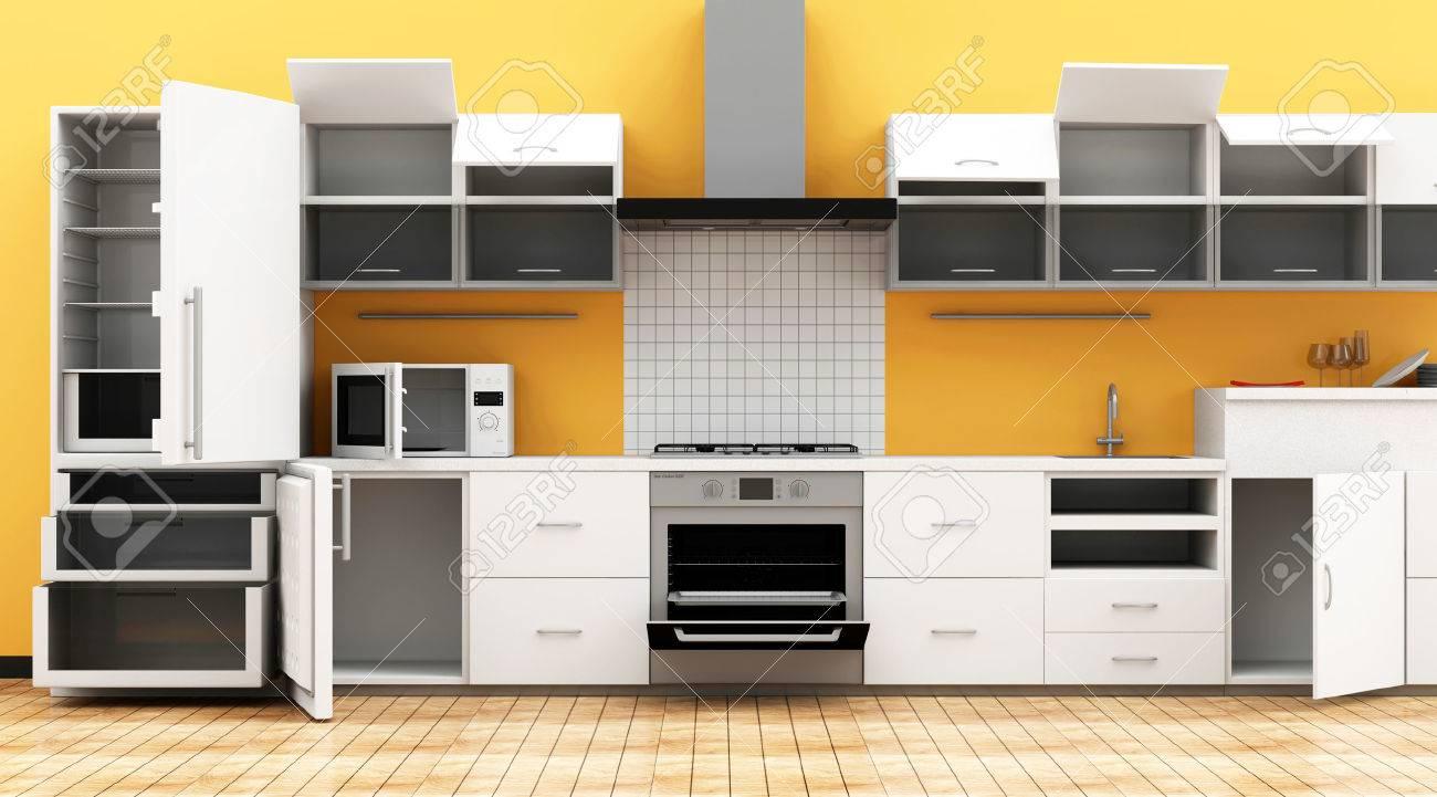 Cocina moderna 3D Interior en tonos claros con Inaugurado Muebles.  Representación 3D