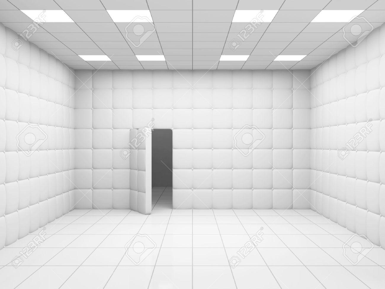 Chambre Blanc Hôpital Mental Intérieur Avec Porte Ouverte. Rendu 3D ...