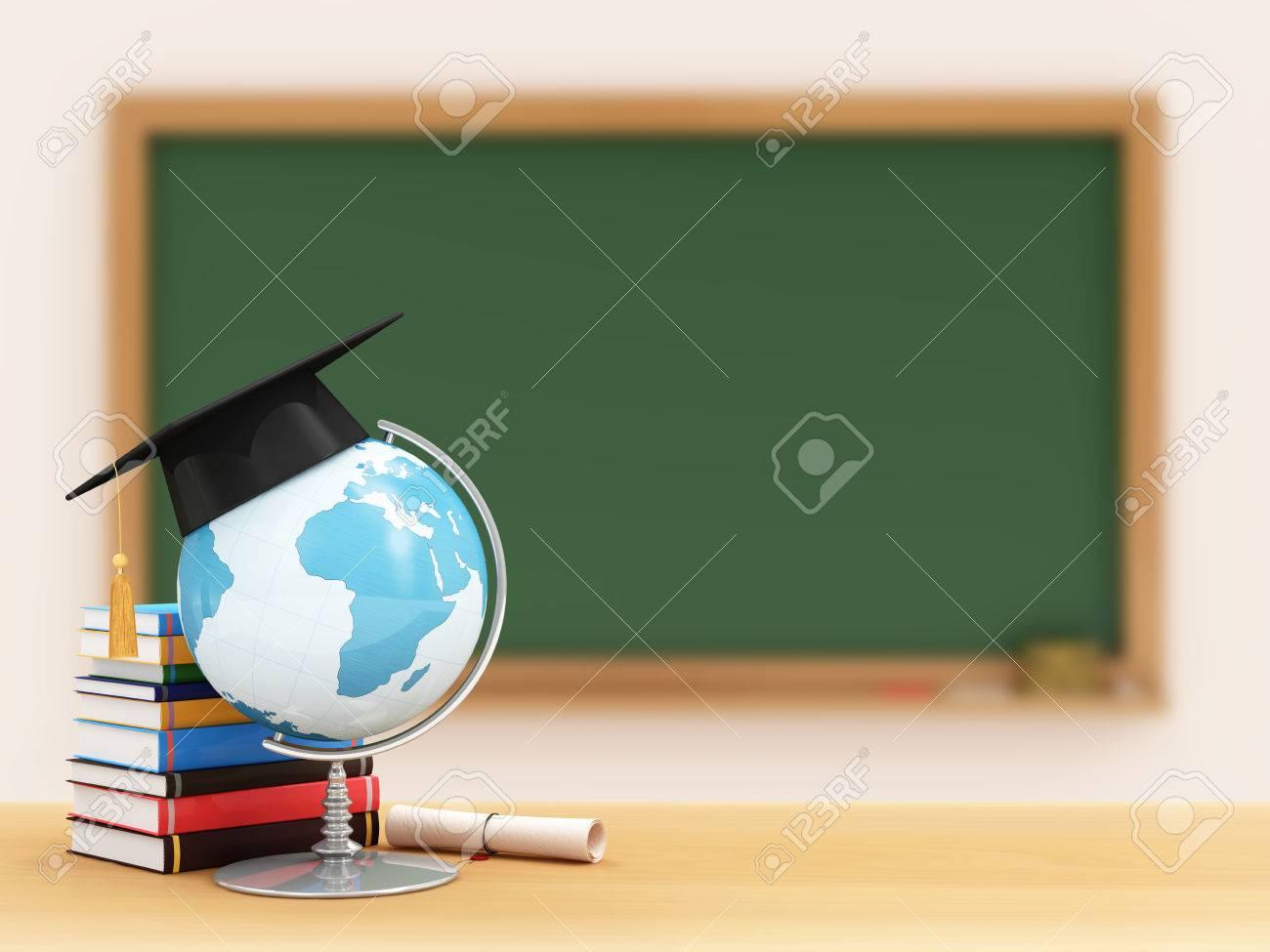 Bildung Konzept Schreibtisch Globus Mit Abschluss Kappe Diplom Und