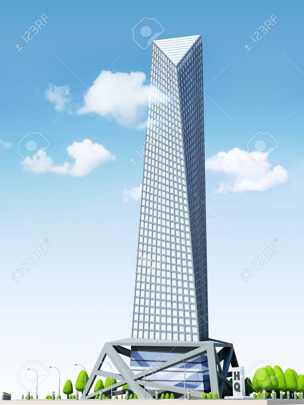 Kreatives Architektur-Konzept. Modernes Hauptquartier-Gebäude ...