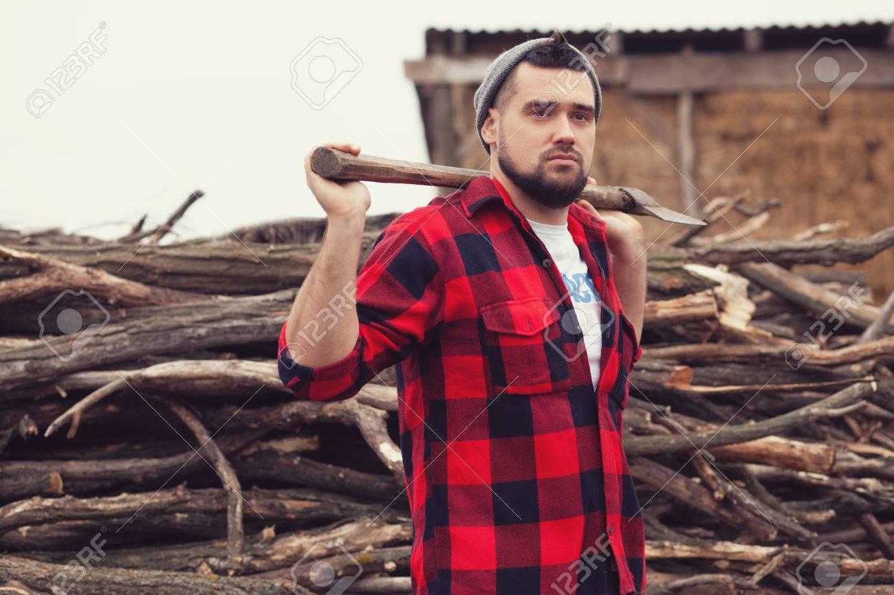 stylish young man posing like lumberjack stock photo picture and