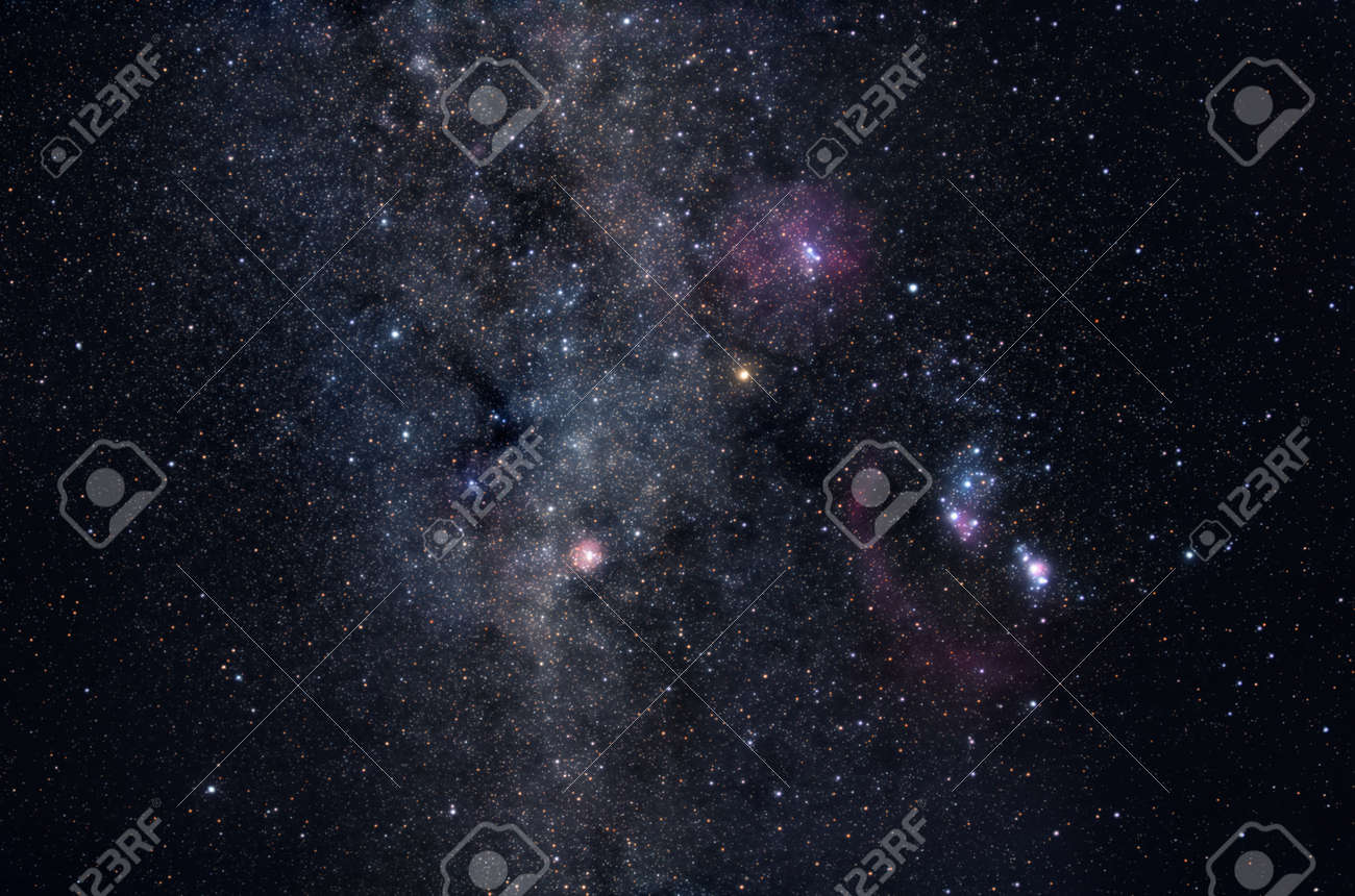 Deep space image containing constellations Orion, Monoceros, Gemini and many bright nebulae and star clusters - 35796186