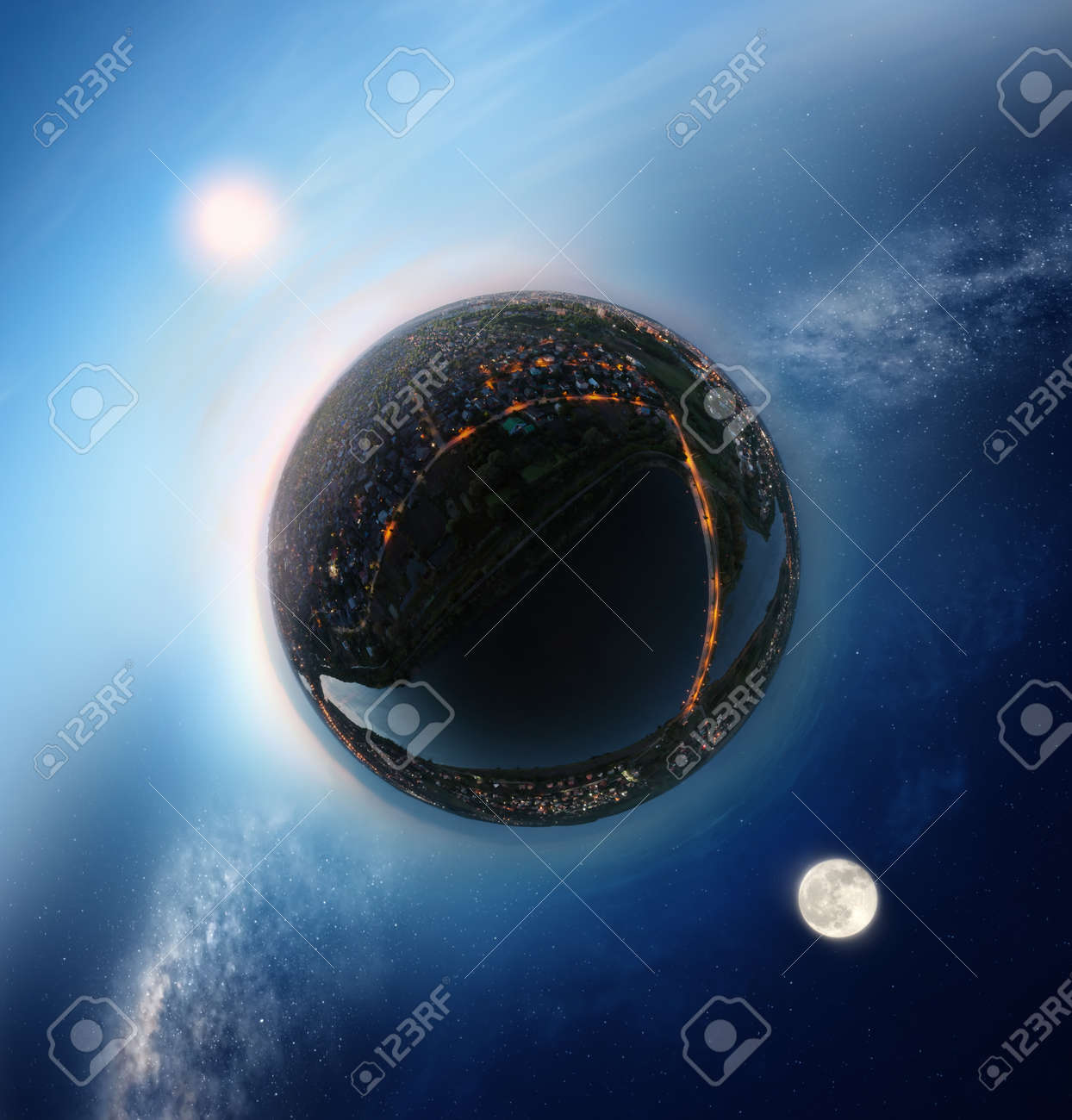 Tiny planet with sunny sky on one side and night sky on the other - conceptual image for time, opposition etc. - 108687321