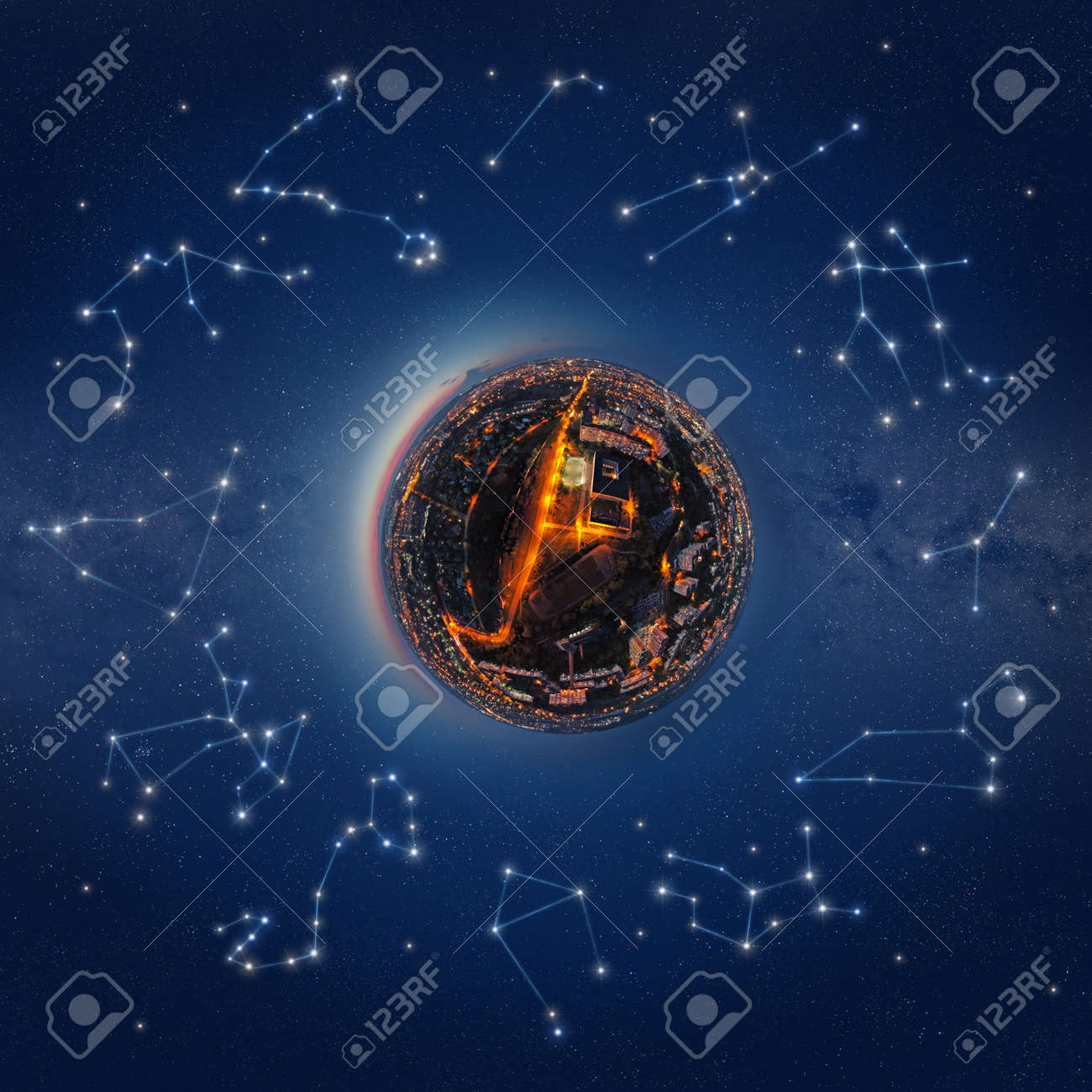 Illustration of the little planet surrounded by the stars and constellations of the Zodiac - 108687322
