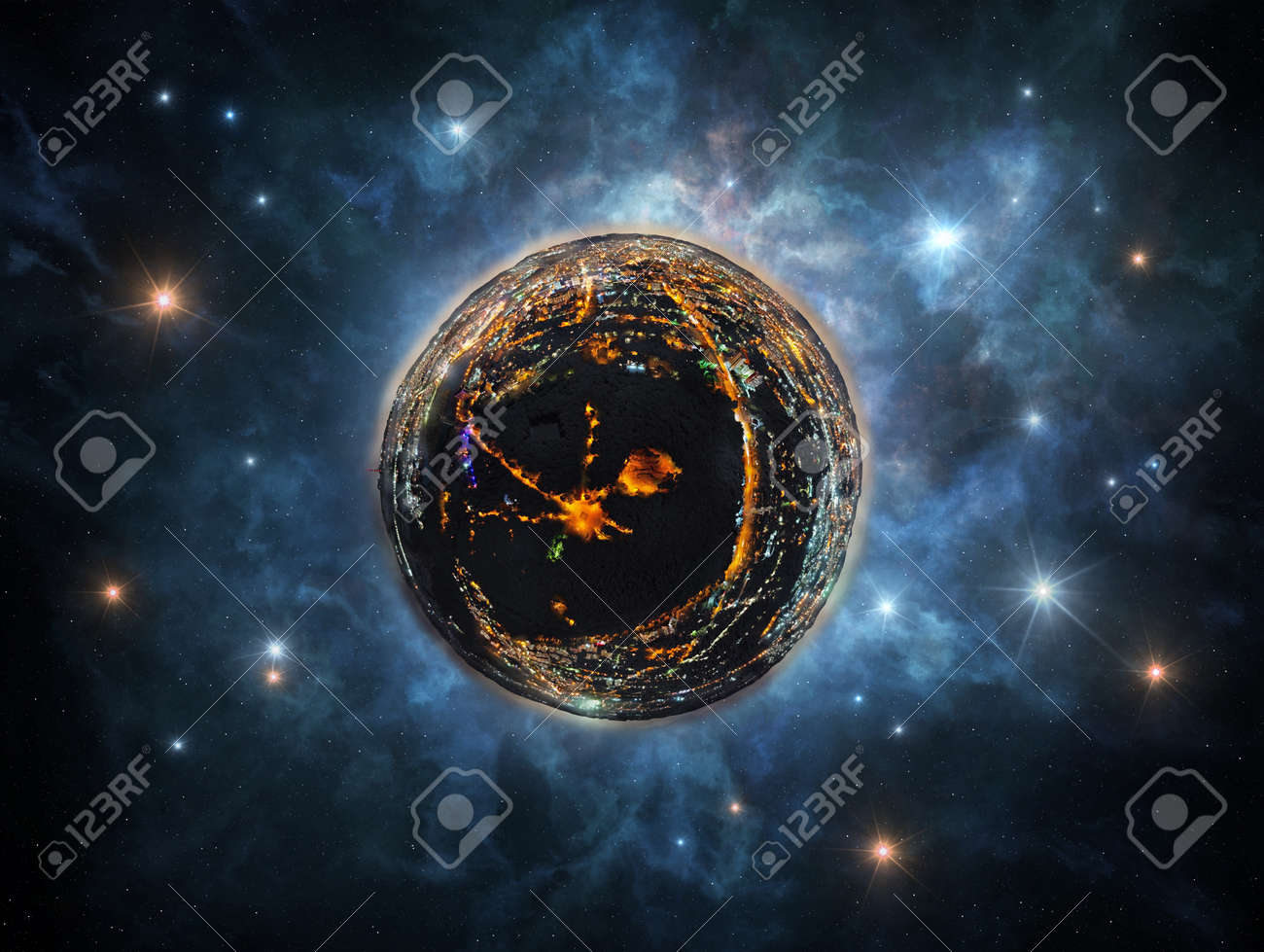 Abstract image of little planet with night city - conceptual image for industries, urban life, real estate, etc. - 111447294