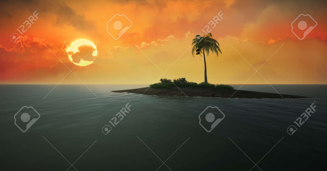 3d illustration of a lonely tropical island against the setting sun - 133378152