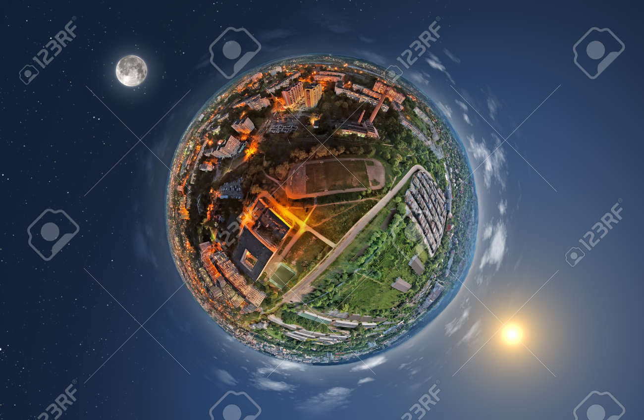 Conceptual picture of day and night on planet Earth - 133378229
