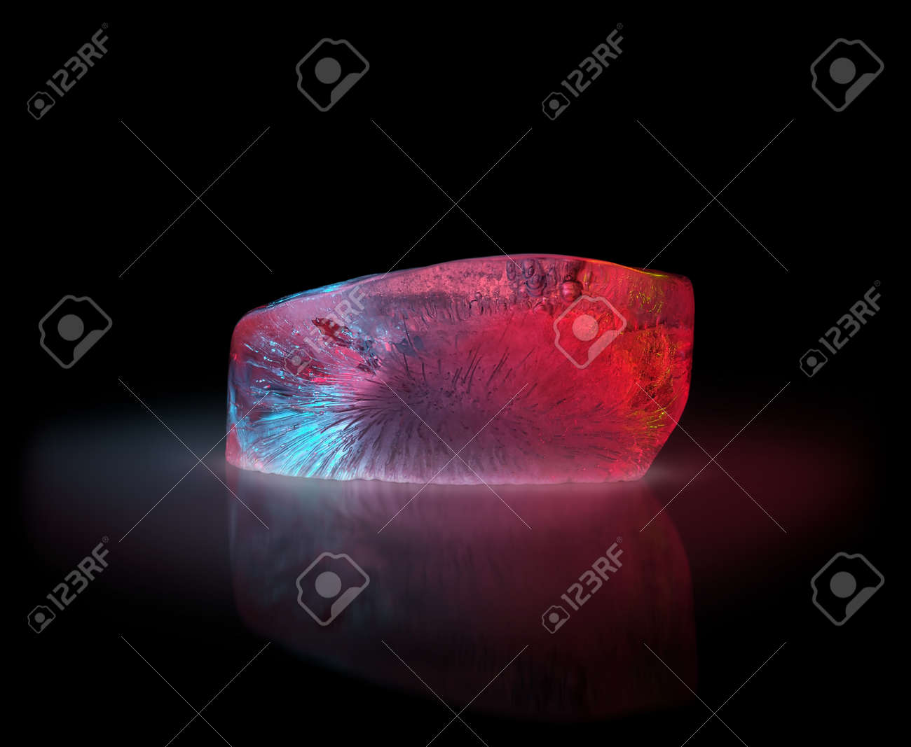 Fancy looking ice crystal on the glass surface - 133378231