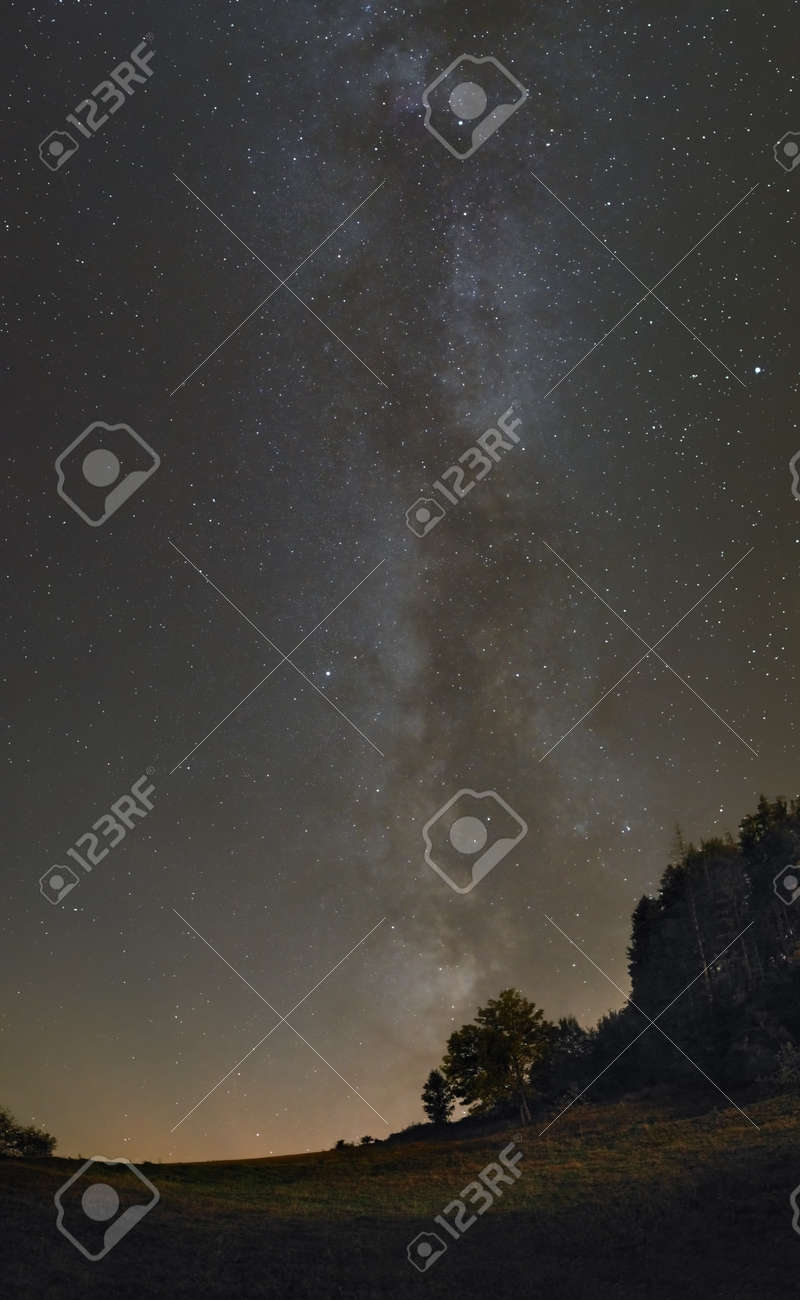 A picture of the majestic Milky Way over the meadow - 133378232