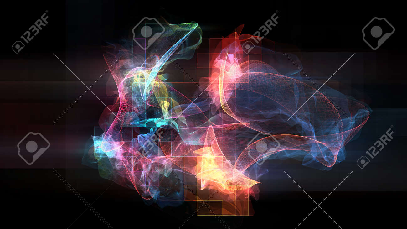 Abstract illustration of various shapes and streaks made of light - 133378301