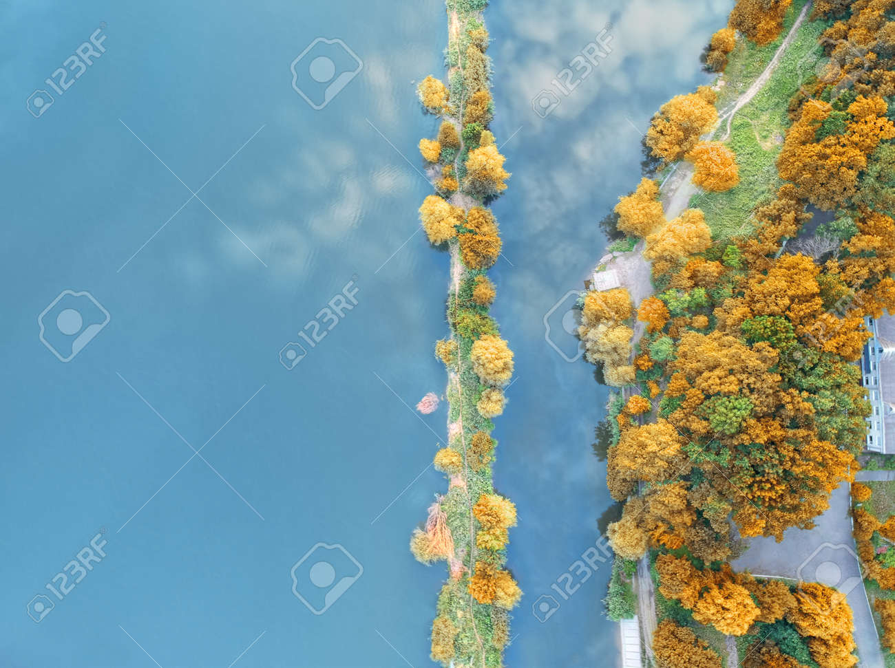 Aerial photo of the picturesque riverbank in autumn - 133378313