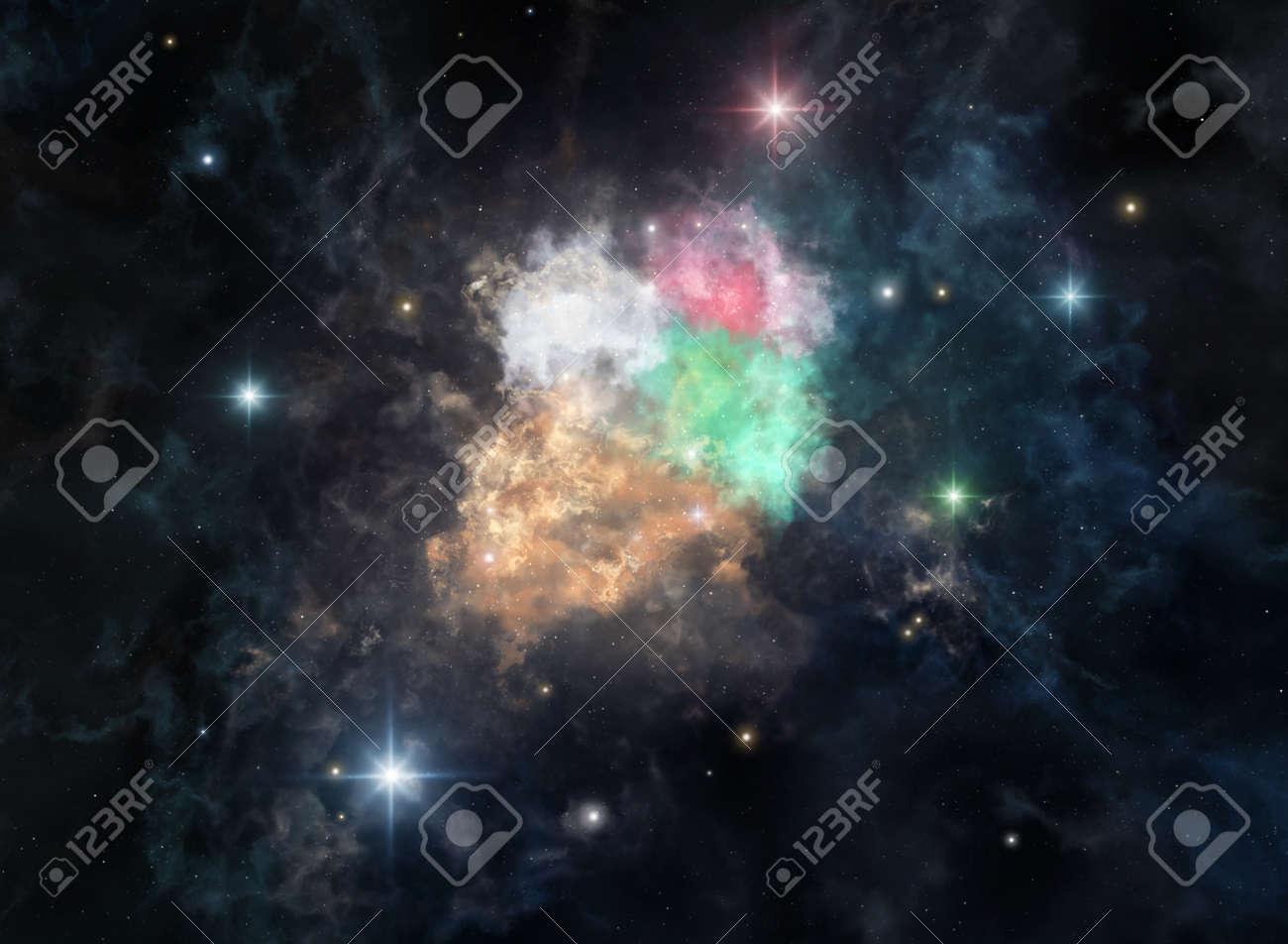 Illustration of the cosmic nebula in the shape of ice cream - 148384965