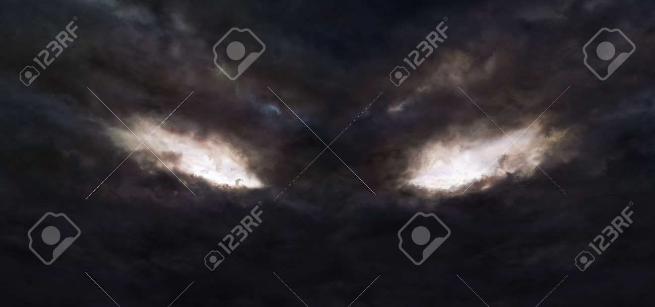 Illustration of the dark storm clouds with a shape of devil's eyes - 153773998