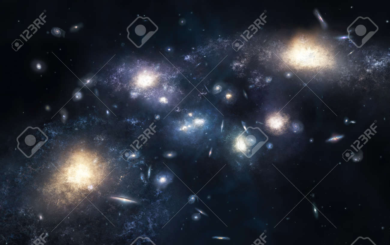 Illustration of the huge cluster of galaxies - 157995250