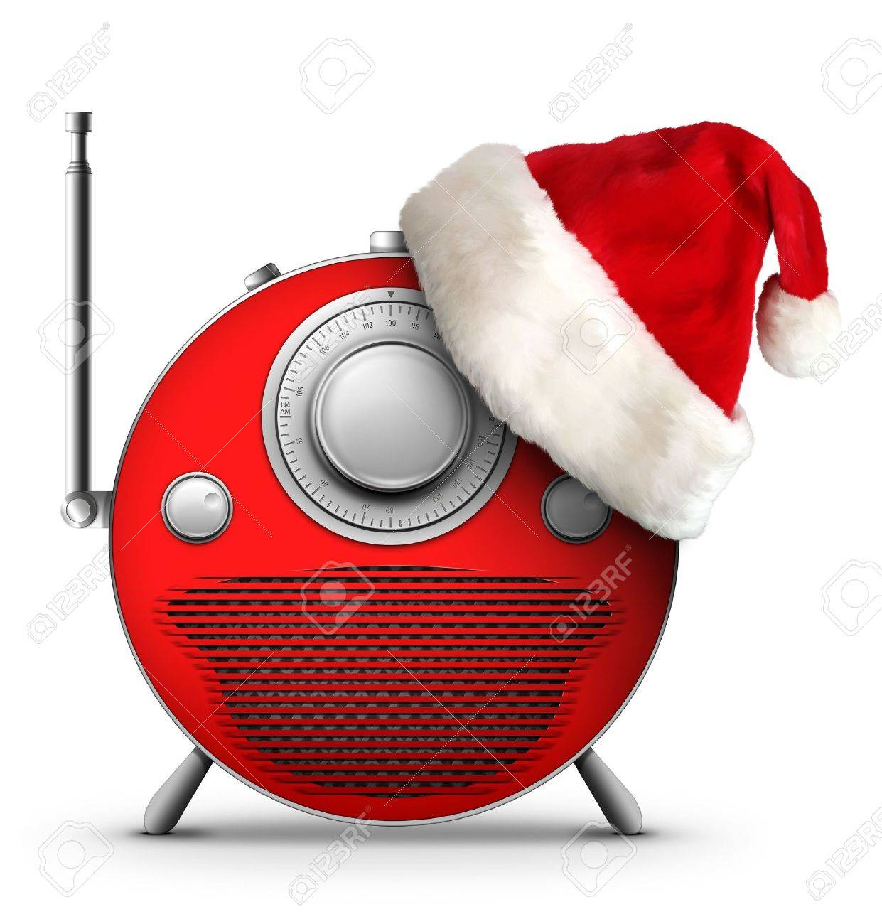 Old Style Radio Christmas And New Year Radio Style. Computer ...