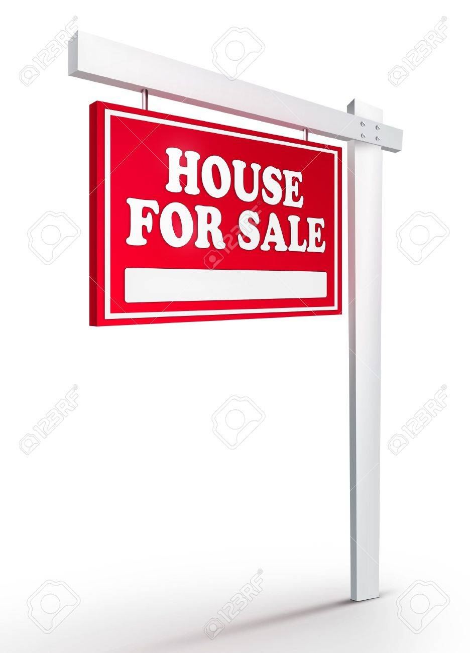 Real Estate Sign � House For sale on white background. 2D artwork. Computer Design. Stock Photo - 6371019