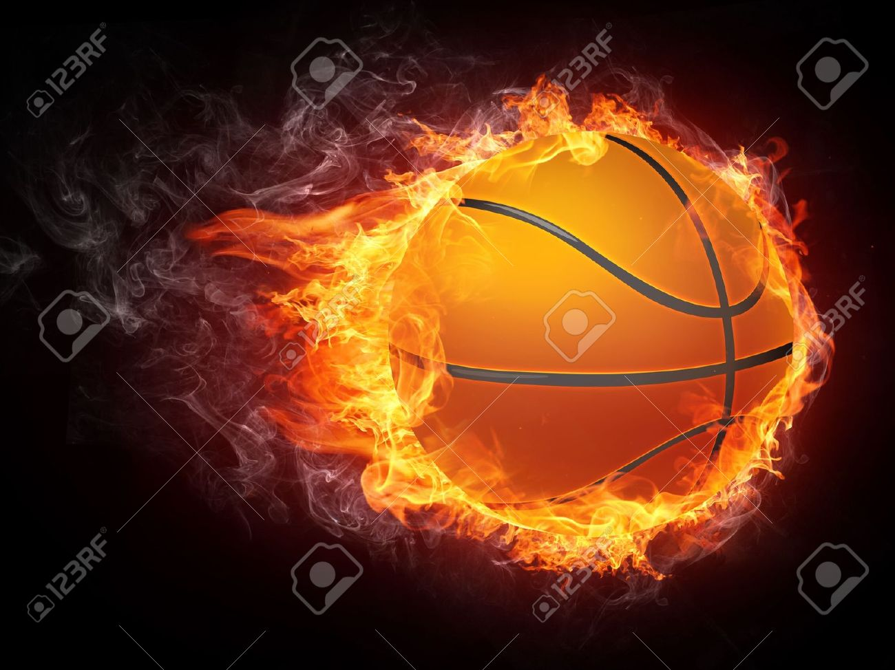 basketball ball on fire 2d graphics computer design stock photo