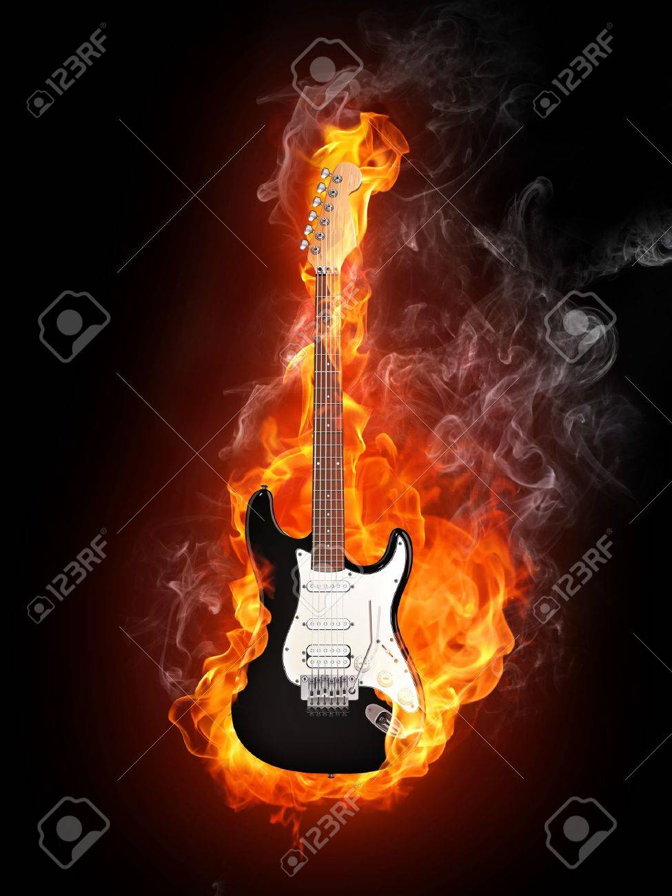 Black Electric Guitar With Flames Electric Guitar in fire