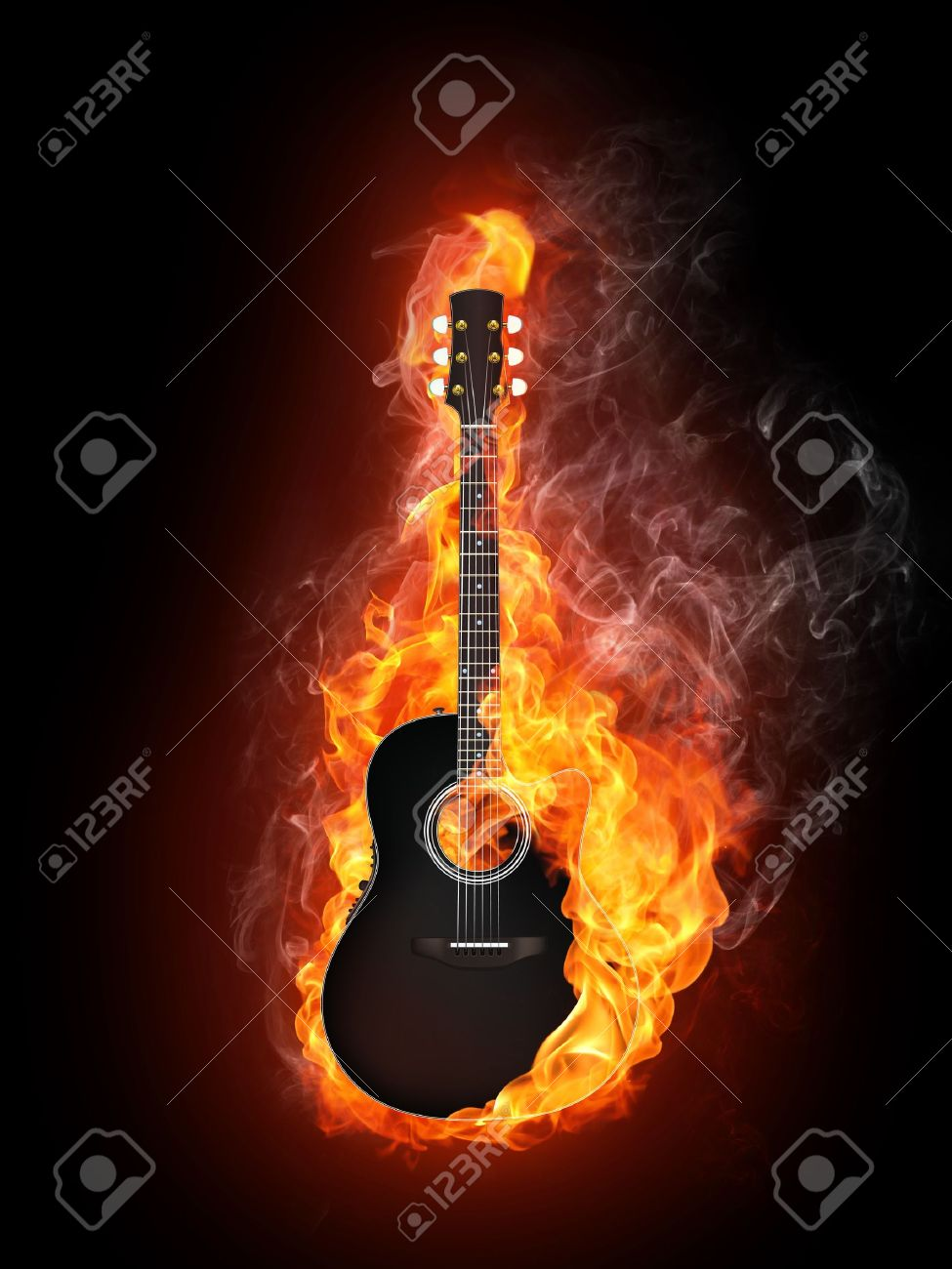 Acoustic - Electric Guitar in Fire Flame Isolated on Black Background Stock Photo - 7333548