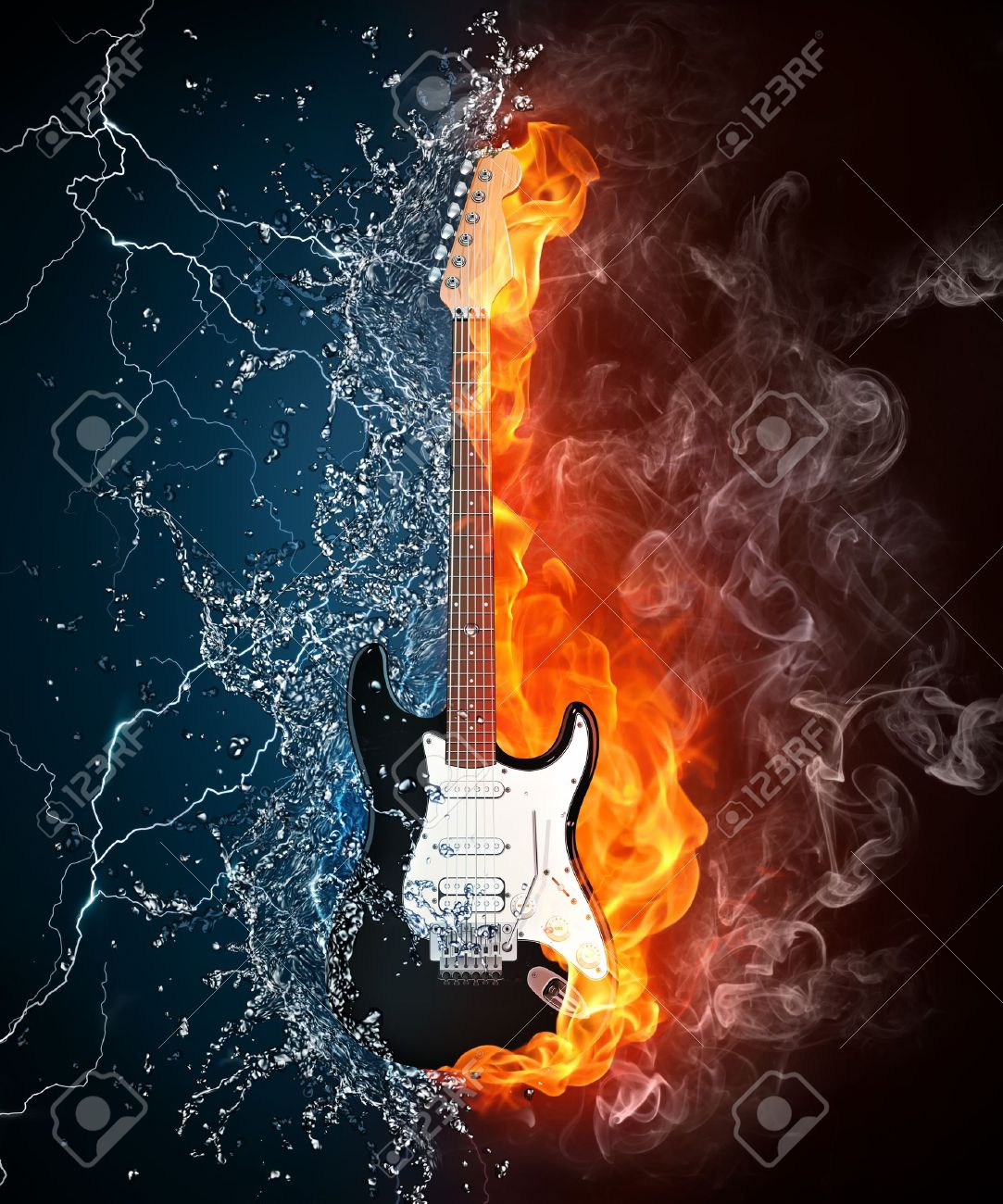 Electric Guitar On Fire And Water Isolated Black Background Computer Graphics Stock Photo