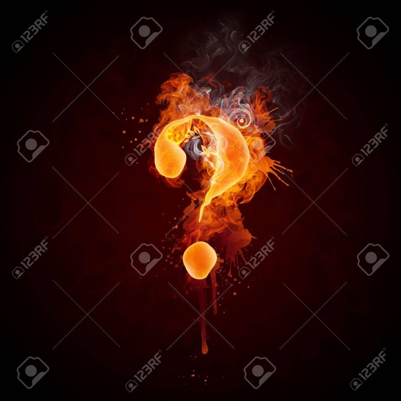 Fire Swirl Question Mark Stock Photo - 9366117
