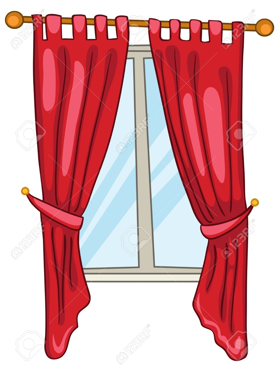 Cartoon Home Window Royalty Free Cliparts, Vectors, And Stock ... for Window With Curtains Clipart  585ifm
