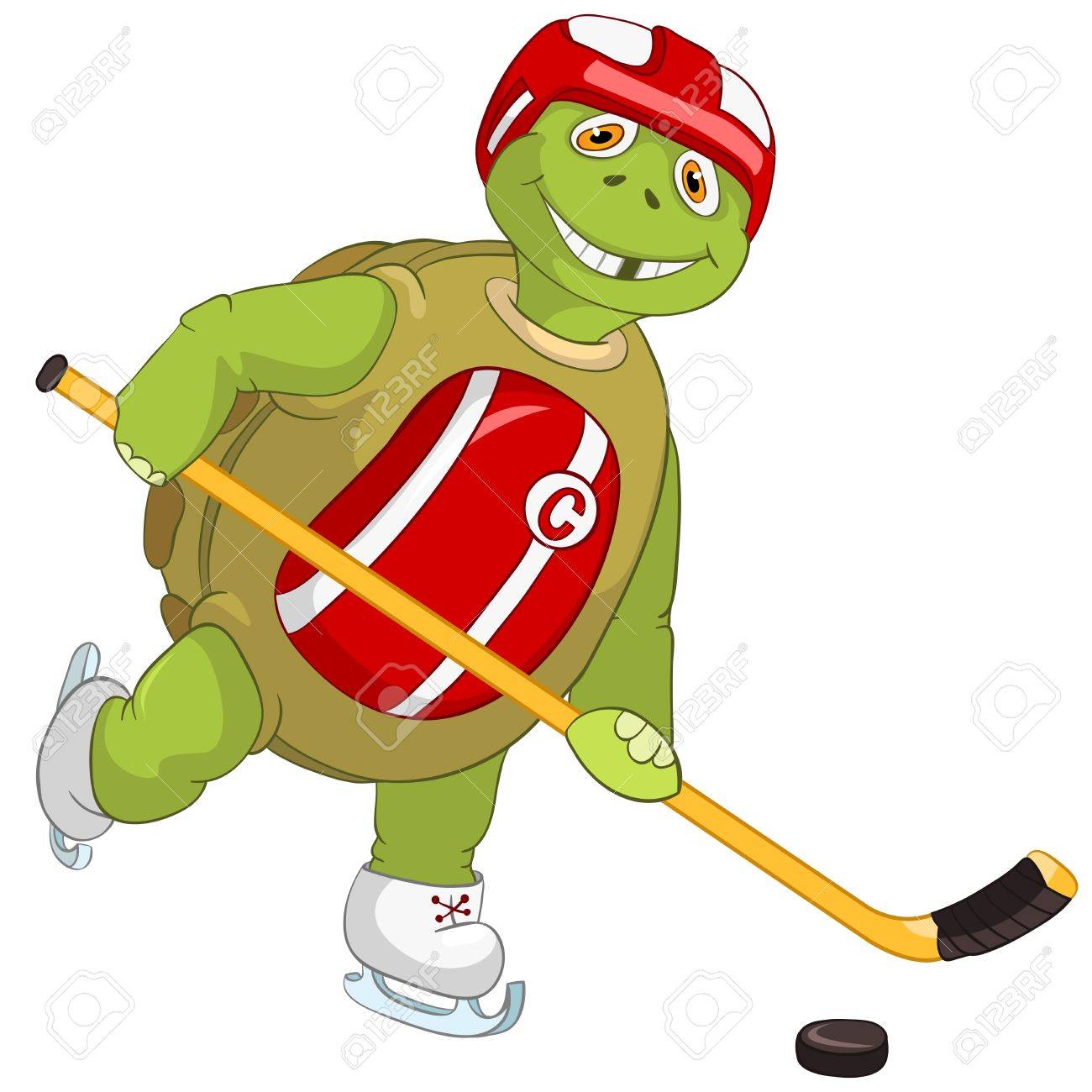 Funny Turtle  Hockey Player Stock Vector - 13533846