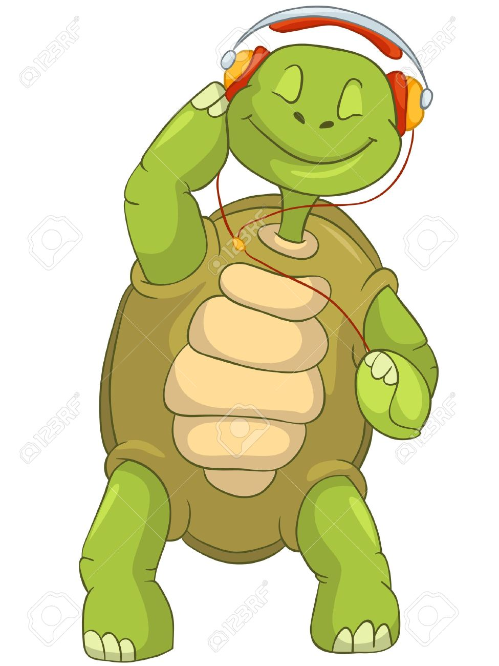 Funny Turtle Listening to Music Stock Vector - 13533785