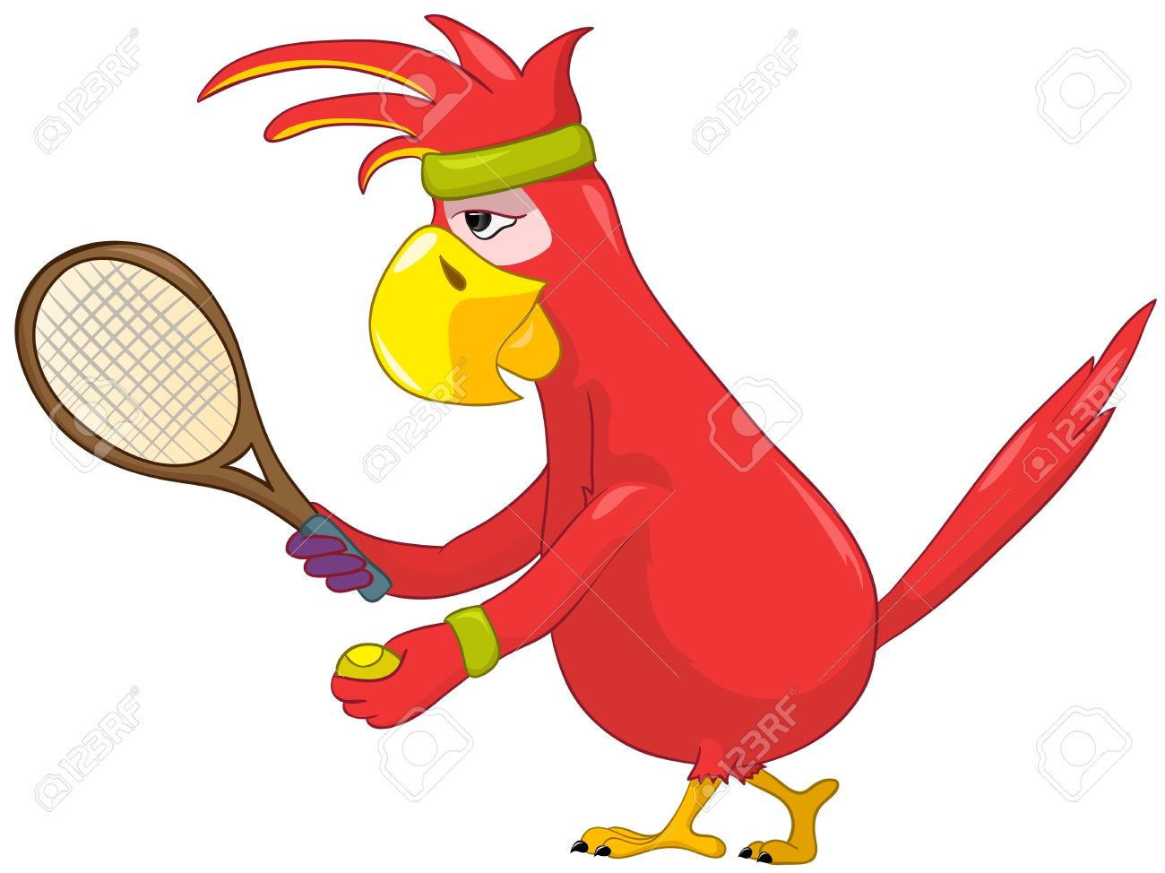 Funny Parrot  Tennis Stock Vector - 13963856