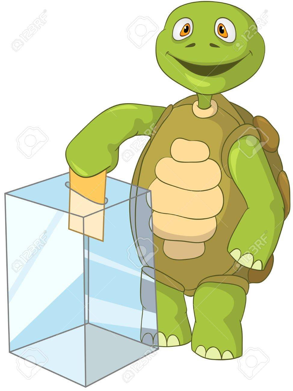 Cartoon Character Funny Turtle Isolated on White Background. Election. Stock Vector - 14455917