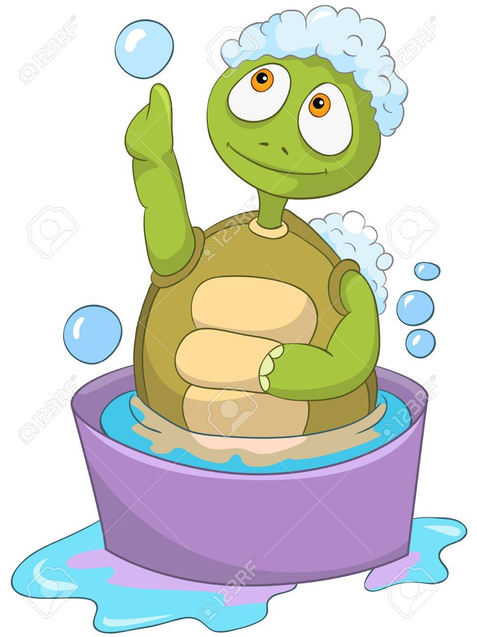 Cartoon Character Funny Turtle Isolated on White Background. Baby Washing. Stock Vector - 14455923