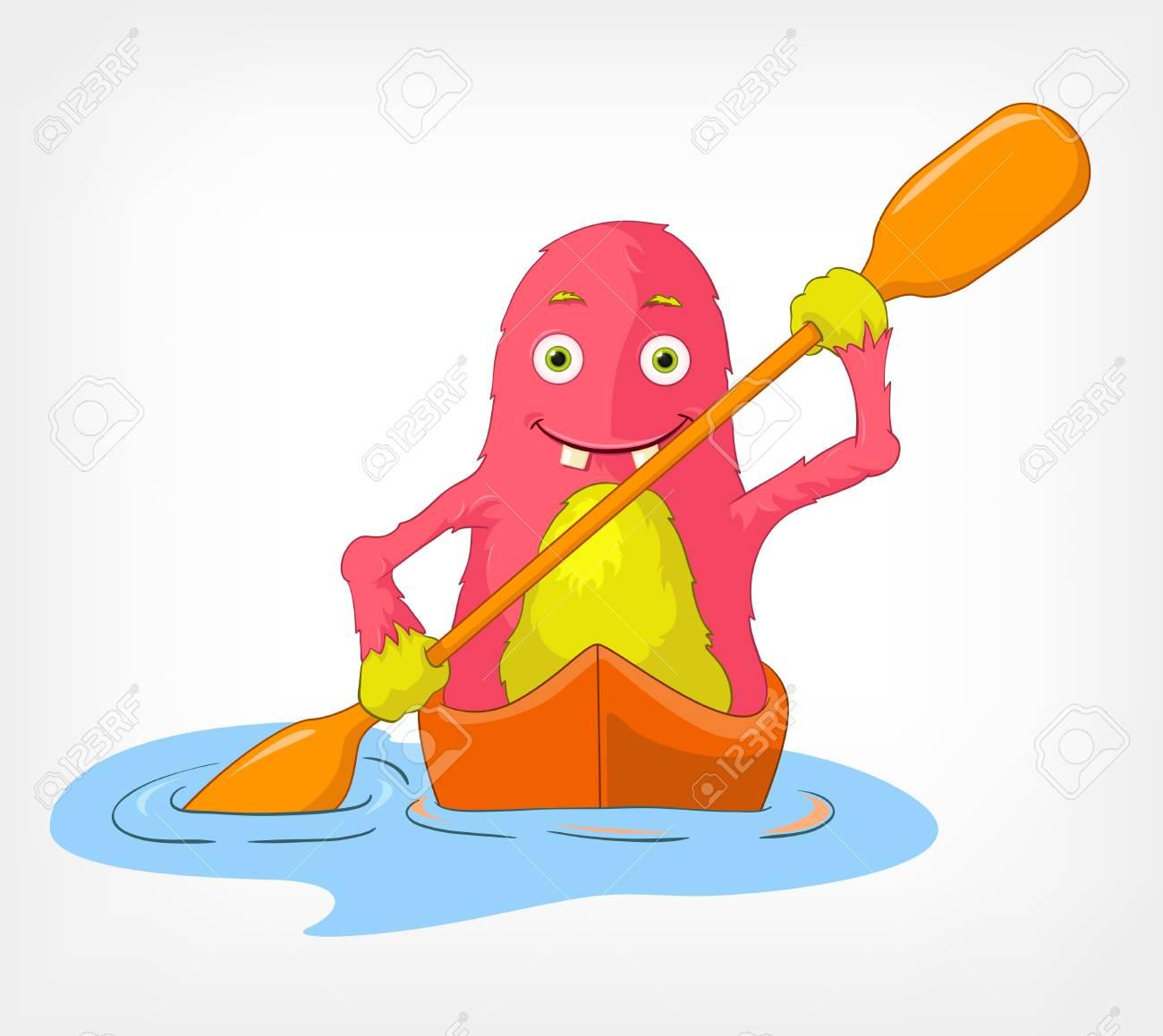 Funny Monster  Kayaker Stock Vector - 14535774