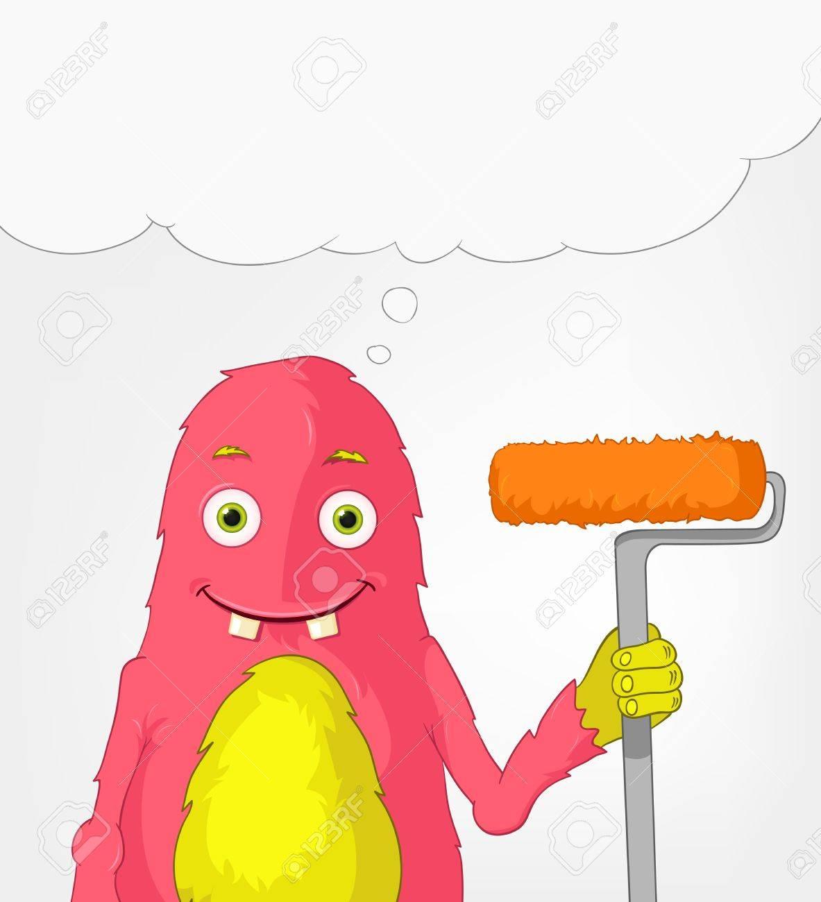 Funny Monster  Painter Stock Vector - 16918934