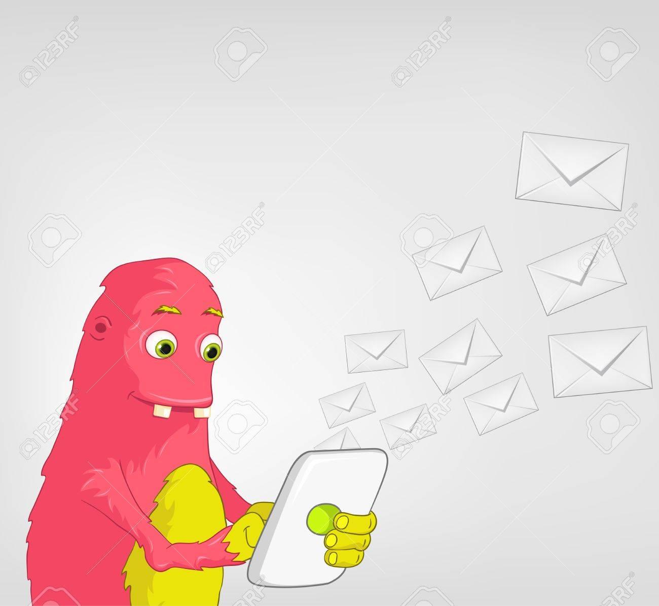 Funny Monster  Tablet User Stock Vector - 16918947
