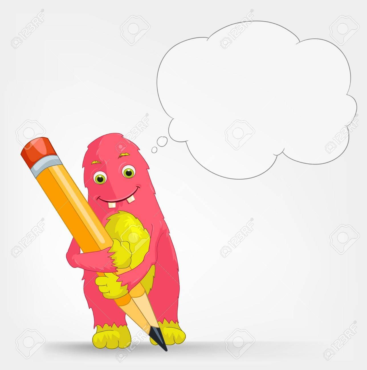 Funny Monster  Writer Stock Vector - 16918895