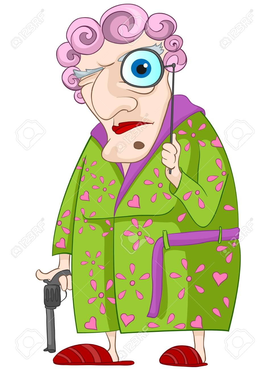 Old Woman Isolated on White Background. Stock Vector - 20633729
