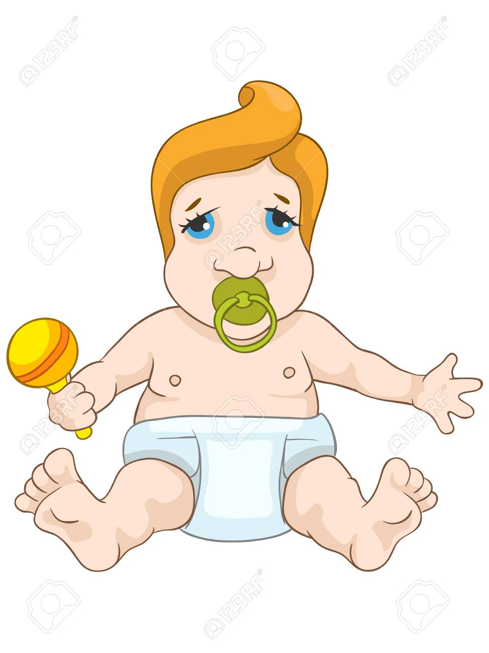 Cute Baby Isolated on White Background. Stock Vector - 20633247