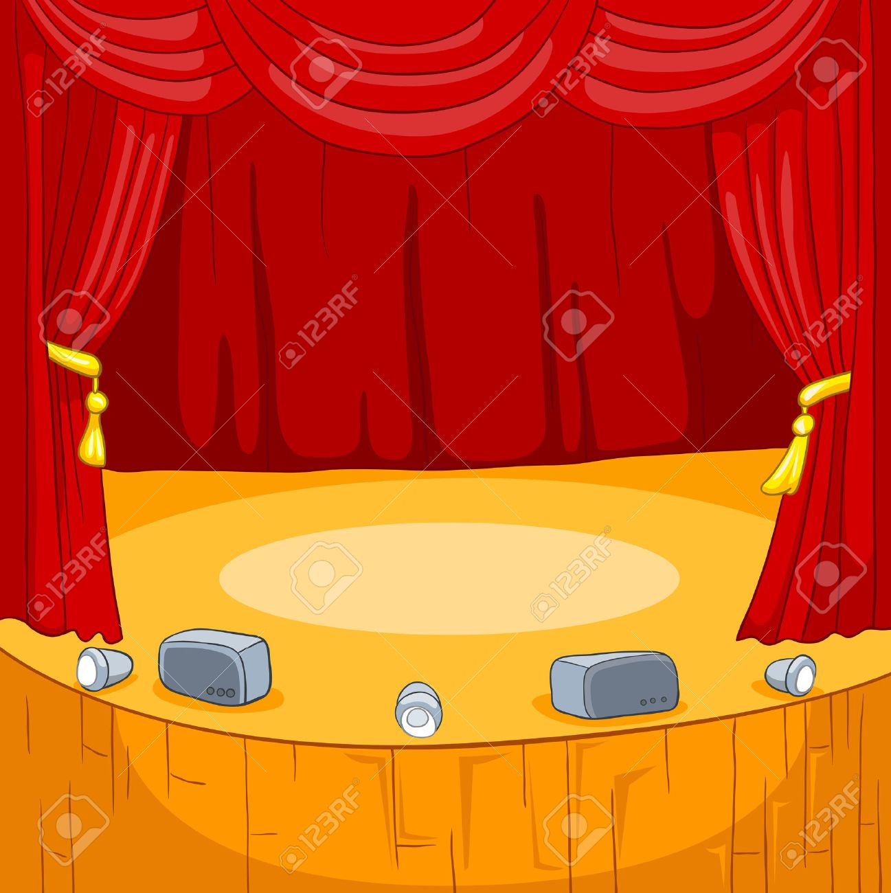 Theater Stage With Velvet Curtains Vector Cartoon Background Stock Photo