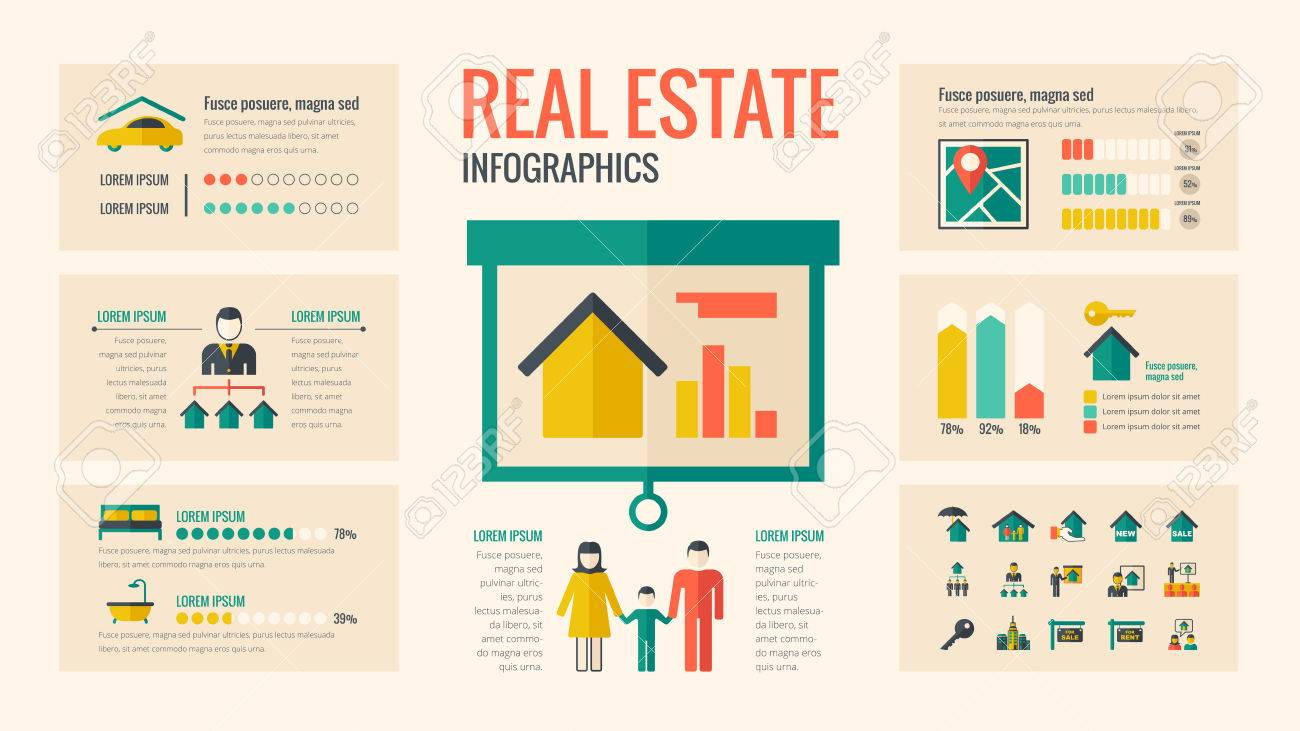 real estate infographic template vector customizable elements