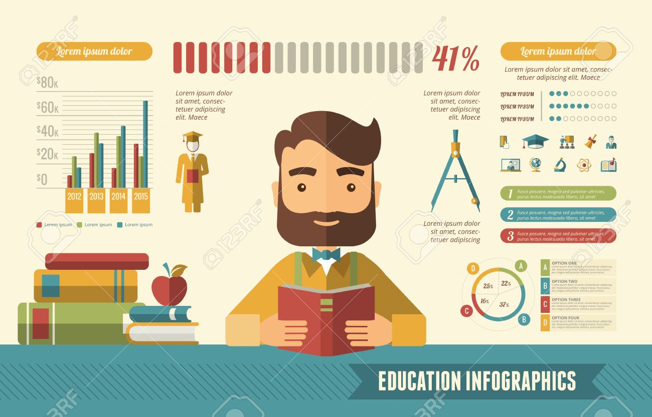 Education Infographic Template. Vector Customizable Elements. Stock Vector - 36472698
