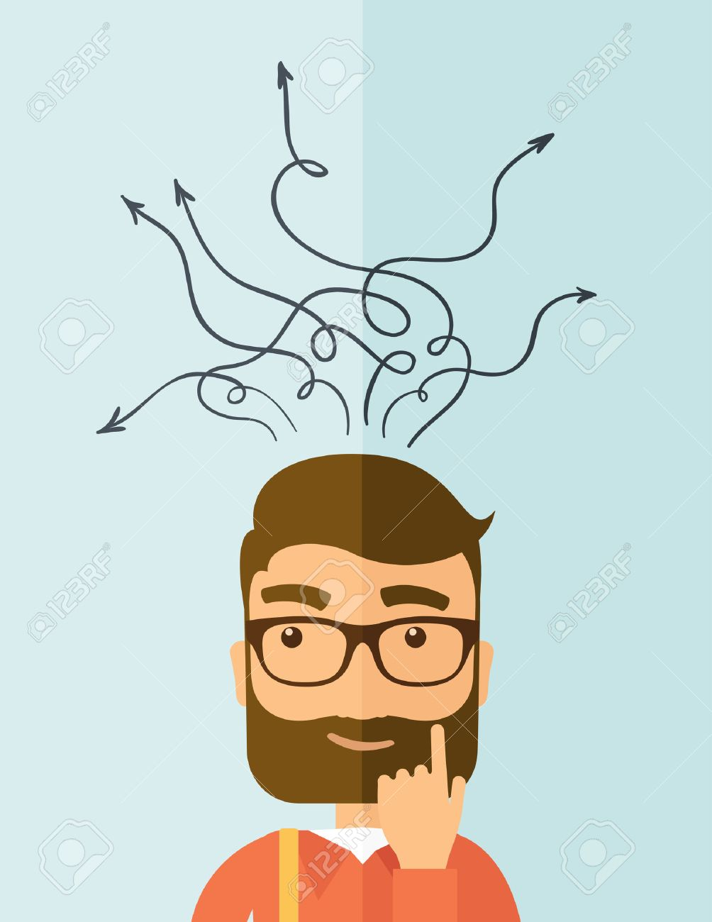 The man with a beard thinking of choice. Decision concept. Vector flat design illustration. Vertical layout. - 37219139