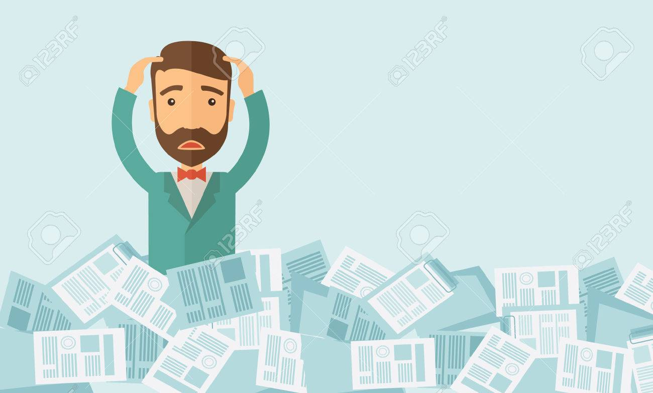 A hipster Caucasian man has a lot of works to do with those papers infront of him, problem on how to meet the deadline of his report. Disappointment concept. A contemporary style with pastel palette soft blue tinted background. Vector flat design illustra - 38392416