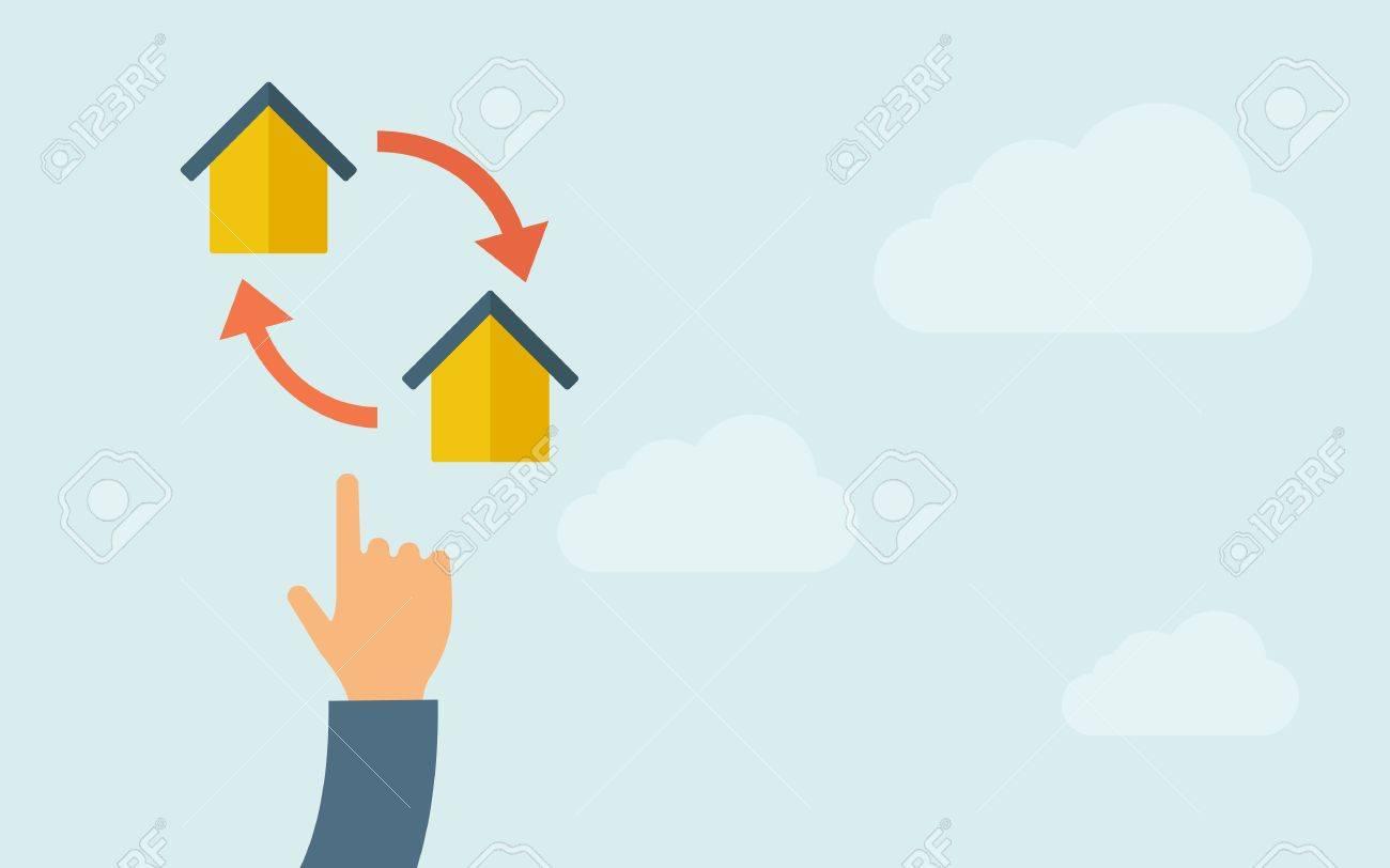 Eine Hand, Die Auf Kleine Häuser Mit Pfeil. Einem Zeitgenössischen ...